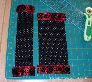 Sew the ribbon to both edges of both strips of material